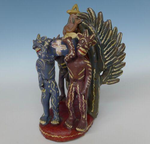 "Vintage Mexican Ocumicho ""diablitos"" sculpture by CATALINA MARTINEZ 12"" tall"