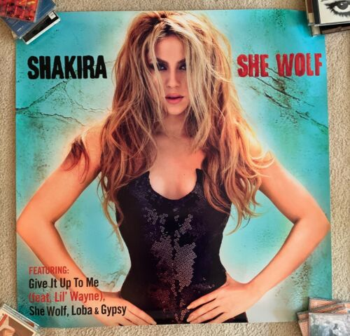 Shakira  SHE WOLF official 3x3 ft Promotional Poster/print Give It Up To Me BIG
