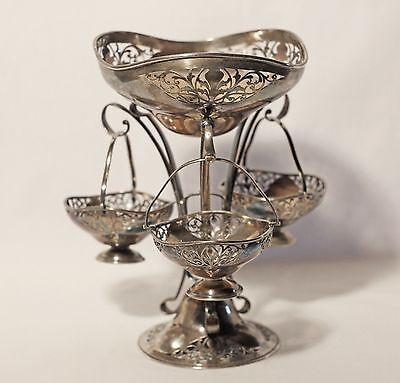 \u00d8 11.8/'/' Embossed Brass Floral Decor Antique Javanese Art Nouveau Fruit Dish
