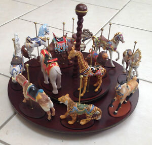 Franklin Mint Complete Set of 12 Treasure of Carousel Art figurines