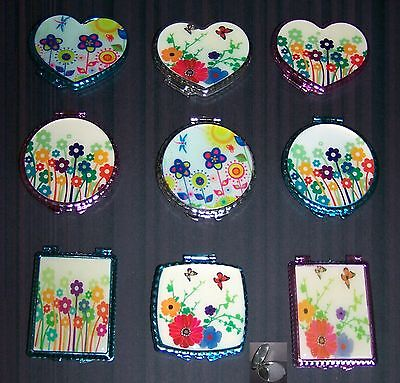 Compact Mirrors  Assorted Flowers Colors & Shape  6Pc 12 Pc Lot (CosAM664  Z) - Shaped Mirrors
