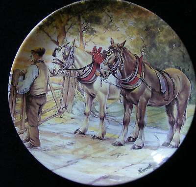 "Danbury Mint Working Horses 8"" Plate: Through the Gate and Home by M Greensmith"