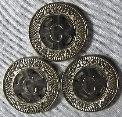 3 - UNCIRCULATED Canton Ohio Transit Tokens BIG LETTER C IN CENTER whotoldya