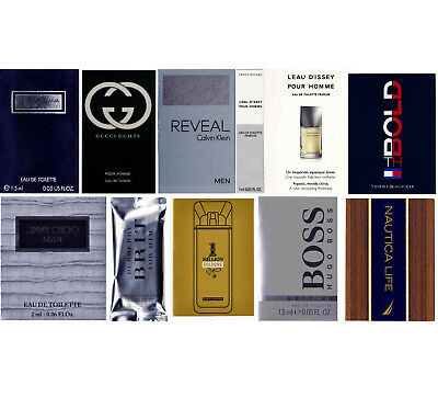 Lot of 12 Men`s Cologne Samples Burberry Gucci Dolce & Gabbana Hugo Paco Rabanne