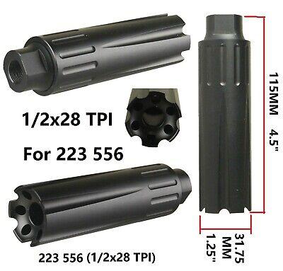 Low Concussion Muzzle Brake Compensator 4.5 Inch Extra Long 1/2x28 TPI 223 556