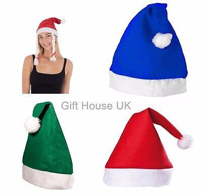 Wholesale Christmas Xmas Hats Felt Adult Unisex Father Santa Claus Blue Green UK - Christmas Hats Wholesale