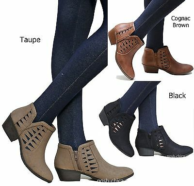 New Women SChc Black Brown Taupe Cut Out Ankle Booties Low Heel Western Boots  Cut Out Ankle Boots