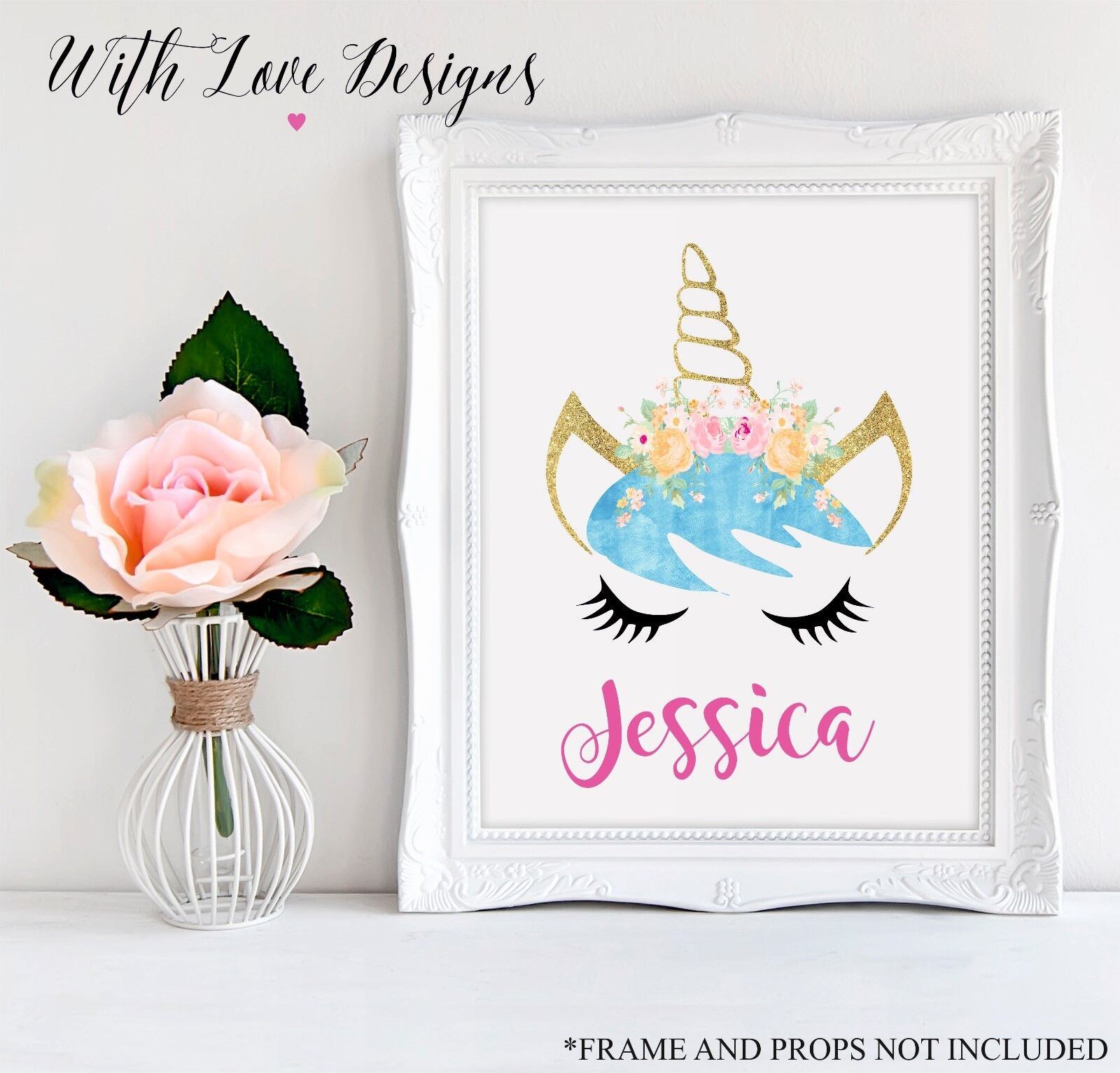 BLUE UNICORN HORSE HEAD FACE NAME INITIAL PERSONALISED PRINT A5 A4 A3