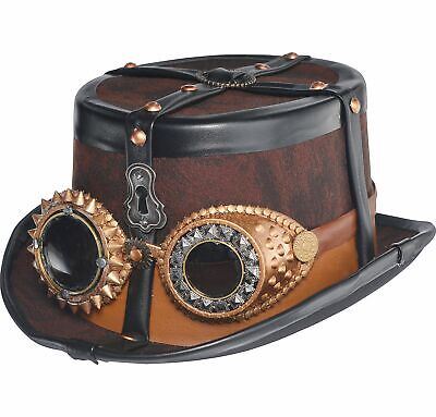 Steampunk Top Hat with Goggles Deluxe Halloween Costume Accessories One Size