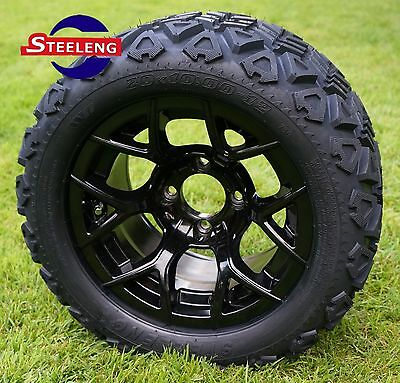 "GOLF CART 12"" BLACK RALLY ALUMINUM WHEELS and 20"" AT TIRES (SET OF 4)"