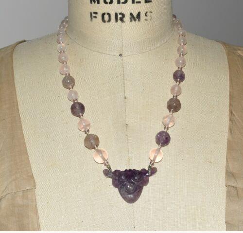 Vtg Chinese Hand Carved Amethyst & Rose Quartz Shou Beaded Sterling Necklace