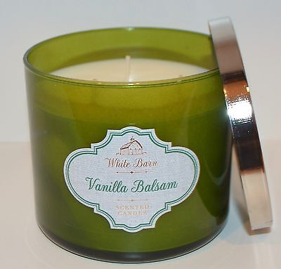 NEW BATH & BODY WORKS VANILLA BALSAM CANDLE 14.5OZ 3 WICK LARGE GREEN WHITE BARN