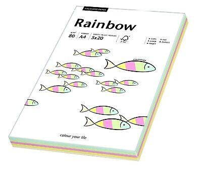 Papyrus 88043187 farbiges Papier Rainbow 80 g/m², A4 100 Blatt Farbmix pastell