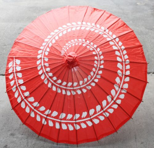 "32"" Inch Dia Red & White Spiral Pattern Wood Paper Parasol Umbrella Decor"