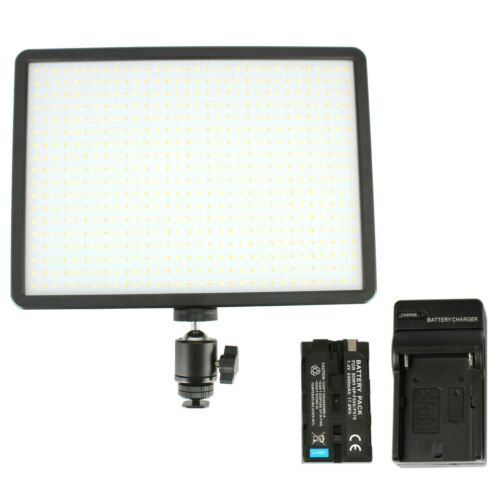 Dimmable 600 LED On Camera Video Light Panel WITH Sony Type Battery & Charger