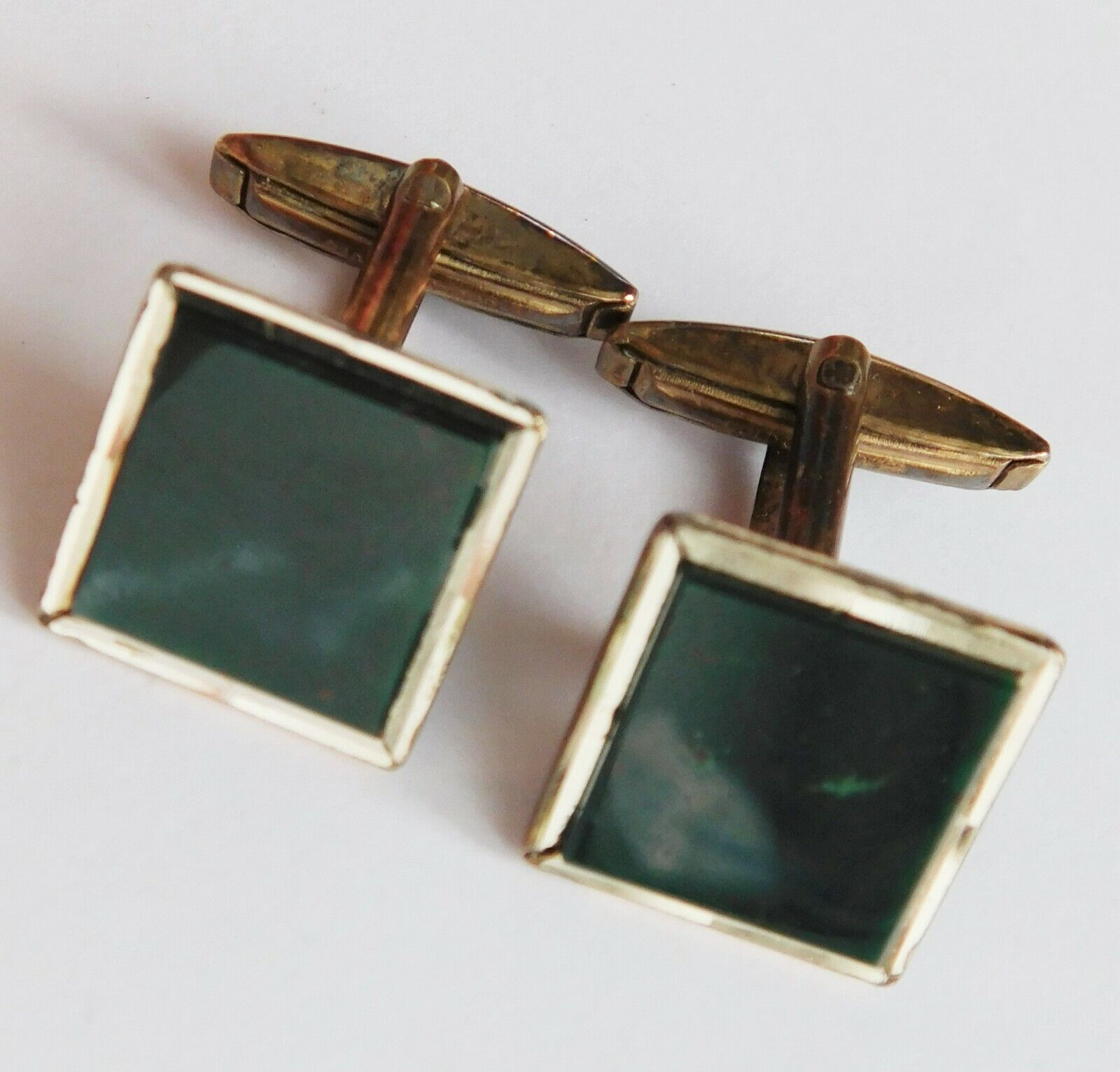Vintage gold on silver cufflinks green marbled faces mp