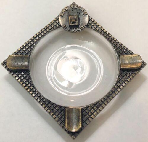 Rare Vintage Las Vegas Nevada Souvenir Ashtray Brass & Glass