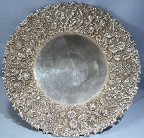 BALTIMORE Silversmith Co Sterling SILVER Repousse Footed Charger/Compote C. 1905