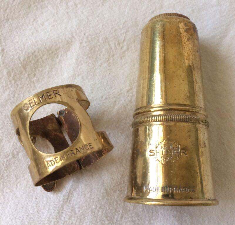 Vintage Selmer Alto Saxophone Ligature & Cap for Hard Rubber Sax Mouthpiece