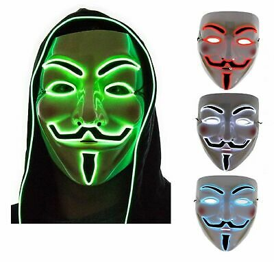 HALLOWEEN LED GUY FAWKES LIGHT UP MASK Cosplay Anonymous Vendetta Costume NEW UK