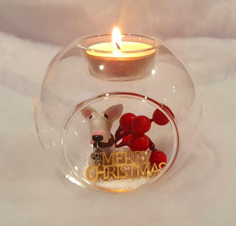 ODD BULLS Hand Made English Bull Terrier Glass Ball Tea Light Holder Christmas