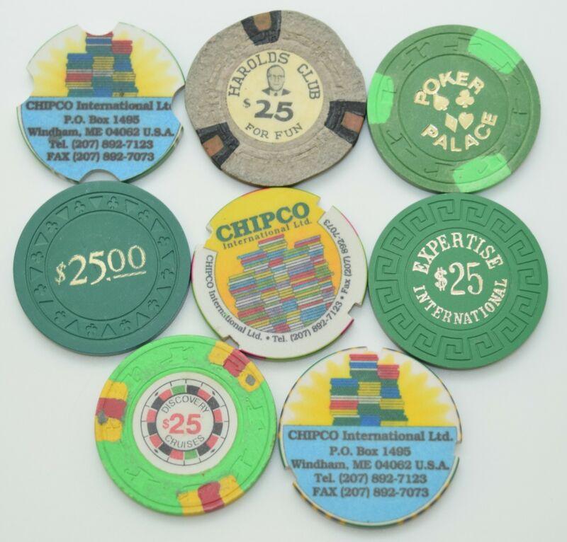 Set of 8 Mix Casino $25 Casino Chips Advertisement Mix Molds