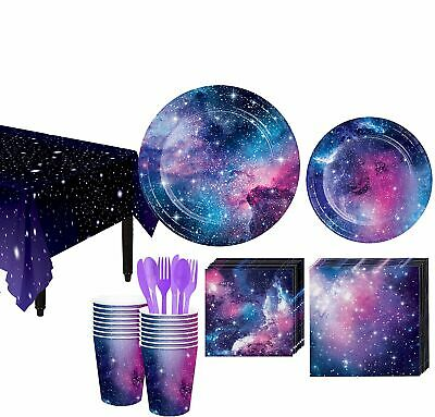 Galaxy Space Party Supplies 16 Guest Plates Cups Napkins Utensils Table Cover - 16 Party