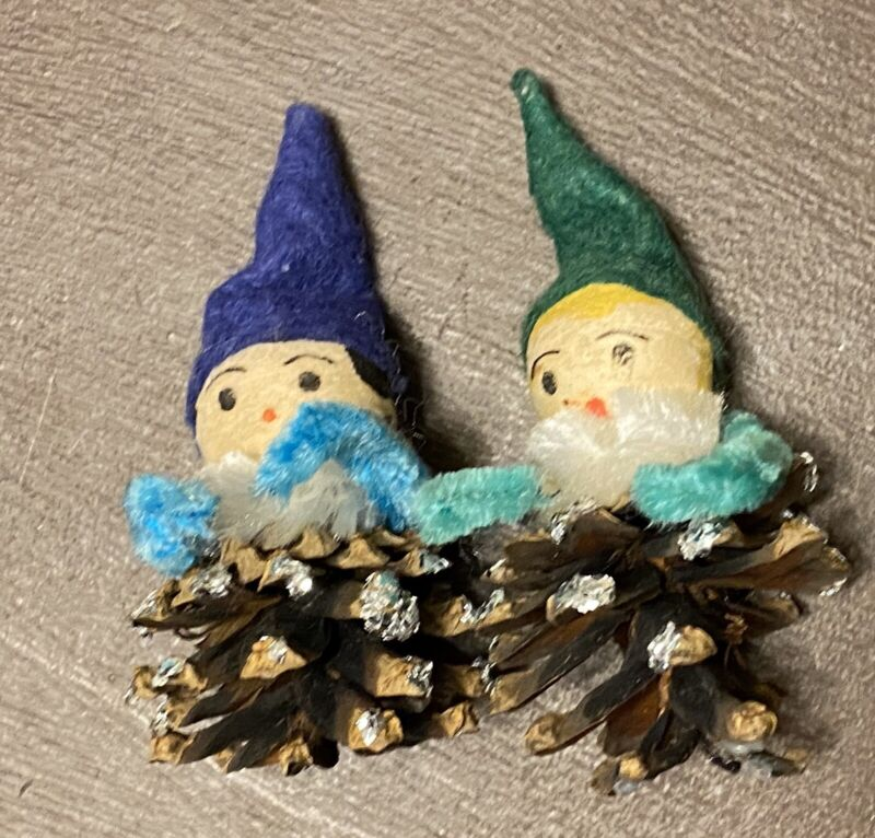 2 Vintage Pinecone Elf Christmas Ornaments