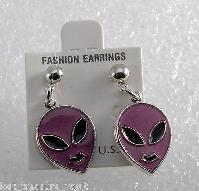 Vintage Retro Alien Earring Pair Fashion Earrings Costume Jewelry NOC Purple](Alien Couple Costume)