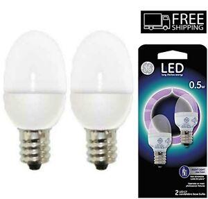 2 Pack GE C7 LED Night Light Bulb /w Candelabra Base 0.5-Watt Soft White Light