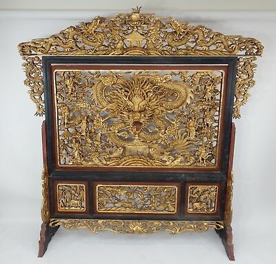 Incredible Large Chinese intricately carved Gilt wood Dragon Screen 74""