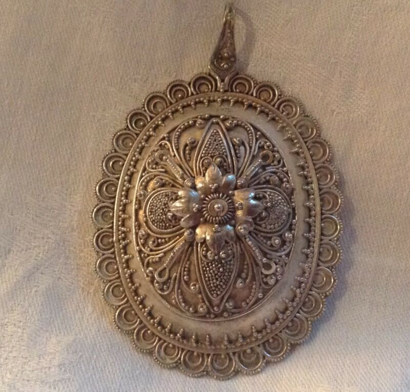 Chinese Straits Sterling Large Graulated Etruscan Design Pendant