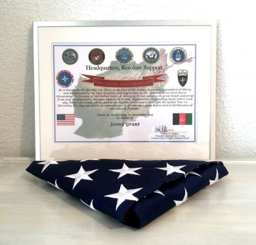 NATO Resolute Support Signed Certificate and American Flag - Afghanistan 2015