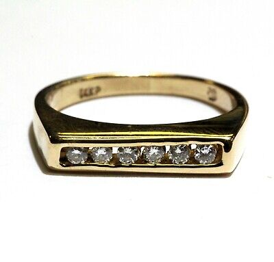 14k yellow gold .15ct VS H round diamond bar channel band ring 2.2g rare - Bar Channel Diamond Band