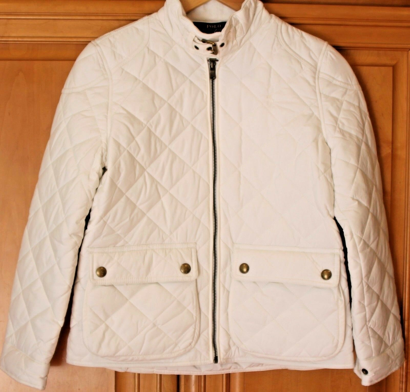 Ralph Lauren Barn Jacket Girls Quilted Ivory Coat Polo Pony Horse Sz 12 14