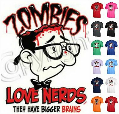 ZOMBIES love nerds they have bigger brains Graphic T-shirt Adult Halloween P214 ()