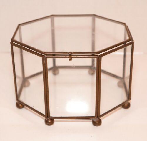 Vintage Octagonal Brass & Glass Ball Footed Jewelry Trinket Vanity Display Box