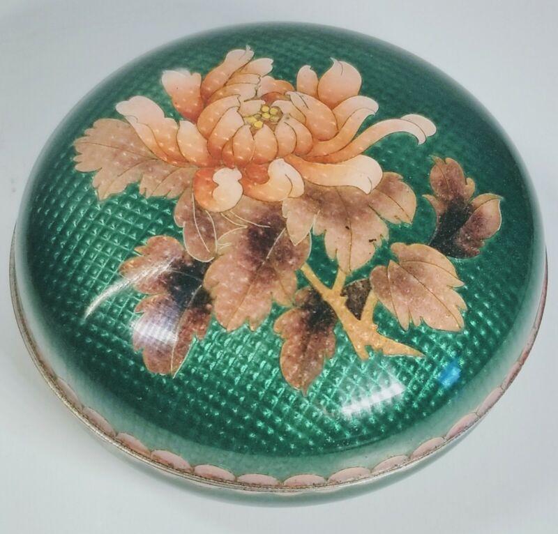 Antique 1900s Japanese Cloisonné Ginbari Floral Design on Silver Trinket Box
