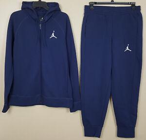 0dcc836f3c6432 ... discount nike air jordan fleece sweatsuit hoodie pants navy blue rare  new size large 997a7 2b020
