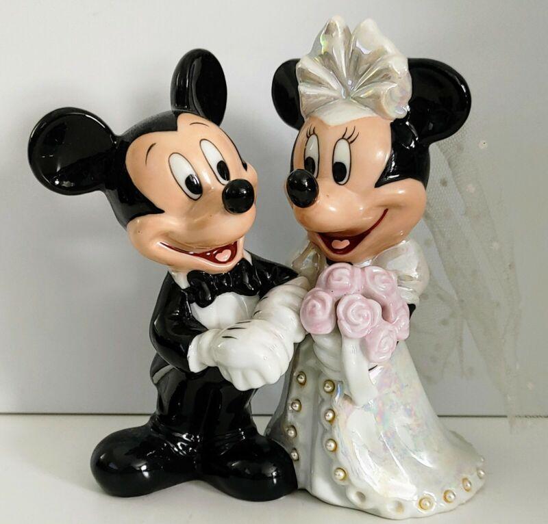 Disney Mickey And Minnie Mouse Love Wedding Bride Groom Vintage Figure porcelain