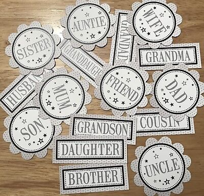 NEW RELATIVES MIX Sentiments 16 Printed Hand Made Card Toppers DAD MUM (BREL2)