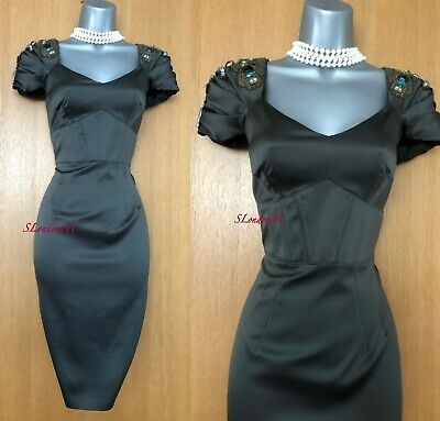 Size 12 KAREN MILLEN Olive Satin Pewter Jewel Cocktail Occasion Pencil Dress NWT - D & G Occasions
