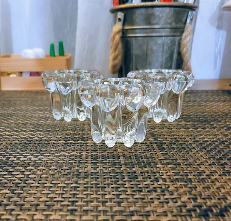 Vintage Lead Crystal Candle Holders Set of 3 Exc. Condition