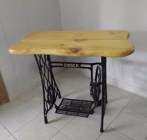 TIMBER TOP TABLE / SINGER CAST IRON TREADLE SEWING MACHINE BASE Camp Hill Brisbane South East Preview