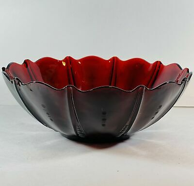 "VTG Royal Ruby Red Oyster and Pearl Large Fruit Bowl 10 1/2"" Console"