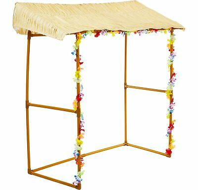 Tiki Bar Hut including Raffia Roof Poles and Hibiscus Garlands Tiki Bar Party](Party Ceiling Decorations)