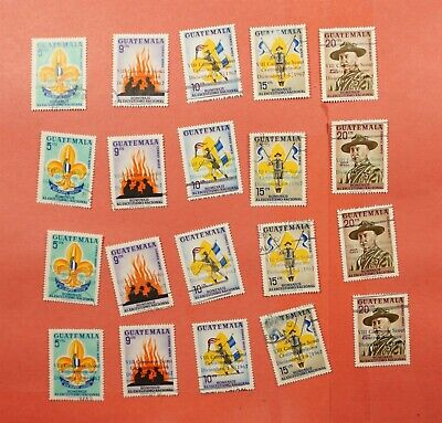 4 DIFF COLOR OVERPRINTS (20) 1967 GUATEMALA BOY SCOUTS #C376-80 USED