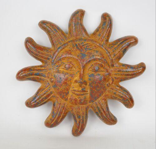 Clay Sun-Mexican Folk Art-Handmade-Hand Painted-Garden-12 inch-Rustic Wall