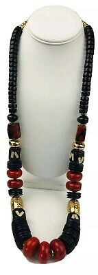 Chico's Red Black Gold Tone Beaded Chunky Statement Necklace Long 36 Inch Long Gold Toned Beads