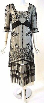 Nataya Schwarz / Weiße Spitze Schier Festliches Kleid - Steampunk Kleid Weiss